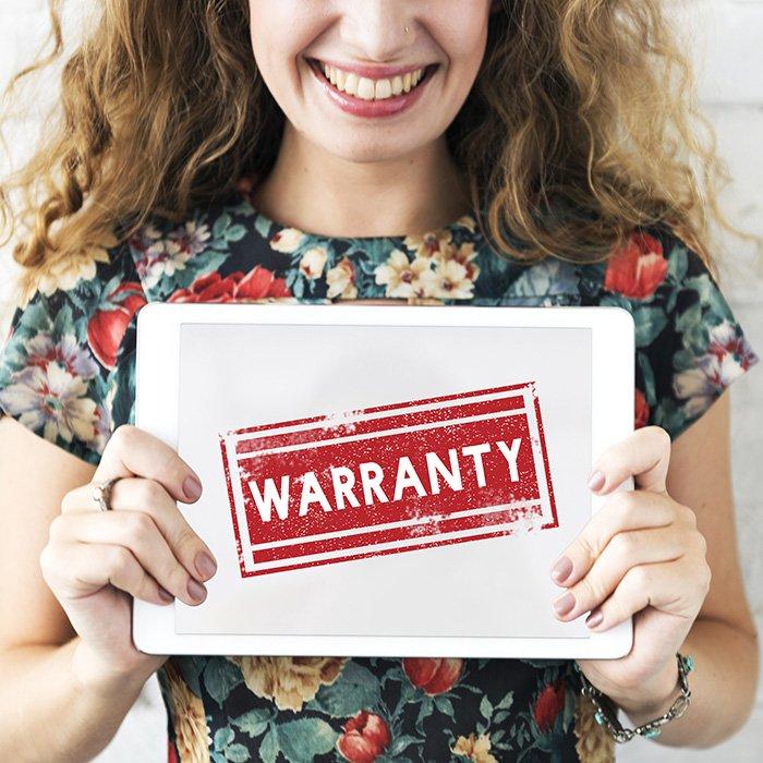 Warranty written on a tablet